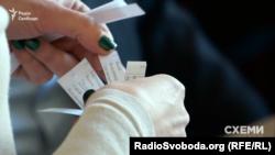 Папірці з прізвищами кандидатів, логінами та паролями, які роздають перед тестуванням