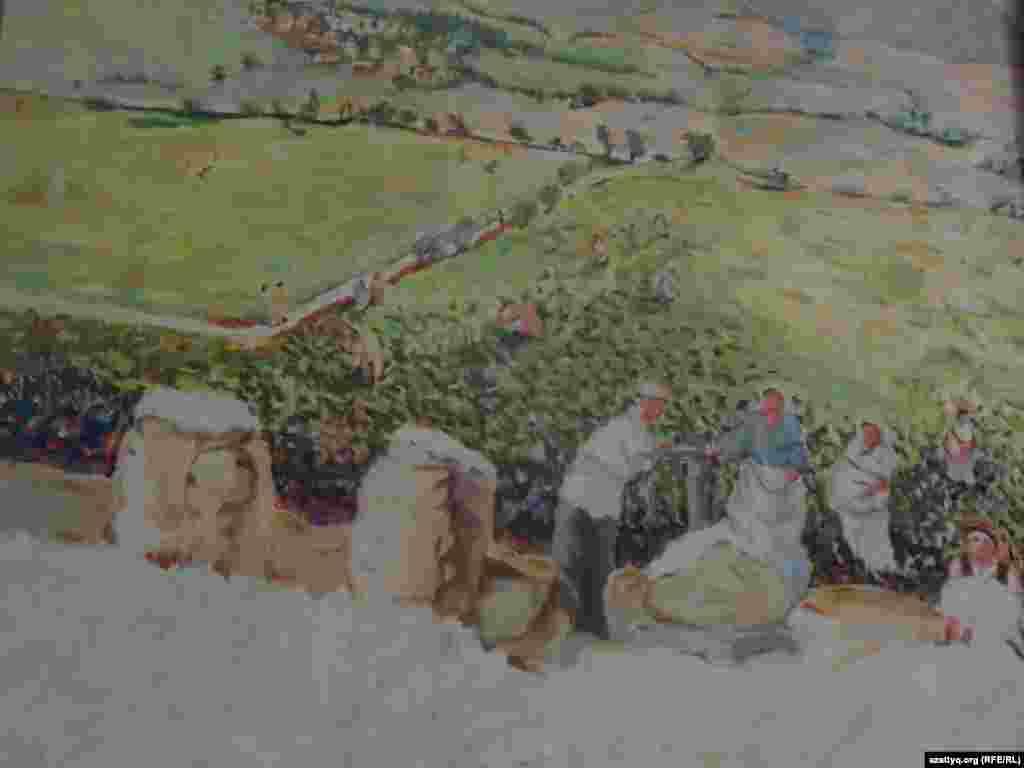 Мақтарал ауданынан келген Бекзат Мұсабаев мына картинасында мақта даласын бейнелеген.