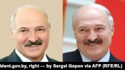 Зьлева: Аляксандар Лукашэнка на фота з president.gov.by, справа на фота Сяргея Гапона для AFP