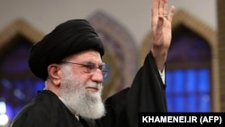 A handout picture provided by the office of Iran's Supreme Leader Ayatollah Ali Khamenei shows him addressing a meeting in Teheran on January 8, 2020.