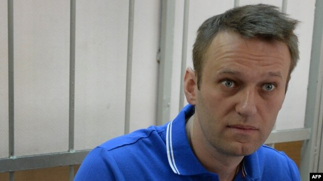 Russian opposition leader Aleksei Navalny attends a court hearing in Moscow on August 1.