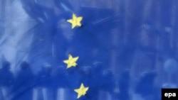 Флаг ЕС на киевской улице
