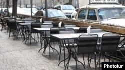 Armenia -- An empty street cafe in Yerevan, March 15, 2020.