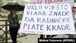 Sa jednog od radničkih protesta u Sarajevu, foto iz arhive