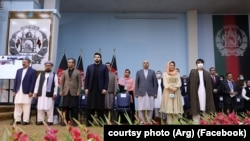 Members of Afghanistan's peace negotiation team on the first day of the Loya Jirga in Afghanistan.