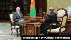 Аляксандар Лукашэнка і Віктар Шэйман, здымак 2018 года