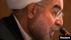Президент Ирана Хасан Роухани на пресс-конференции в Нью-Йорке. 27 сентября 2013 года.