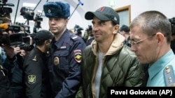 Former Russian minister Mikhail Abyzov arrives in court on March 27.