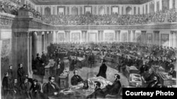 Заседание Сената по импичменту президента Эндрю Джонсона. Рисунок Теодора Дэвиса. Еженедельник Harper's Weekly. Апрель 1868 года.