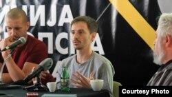 """Ставрески на прес-конференцијата по македонската премиера на """"Исцелител""""."""