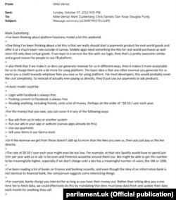 Письмо Марка Цукерберга, в котором обсуждается возможность прямой продажи данных пользователей Facebook.
