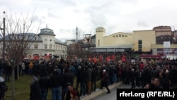 Around 10,000 people attended the antigovernment protest in Pristina.