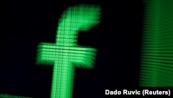 A 3D-printed Facebook logo in binary digits - generic