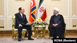 Председатель президиума парламента КНДР Ким Ён Нам и президент Ирана Хассан Роухани (архивное фото)