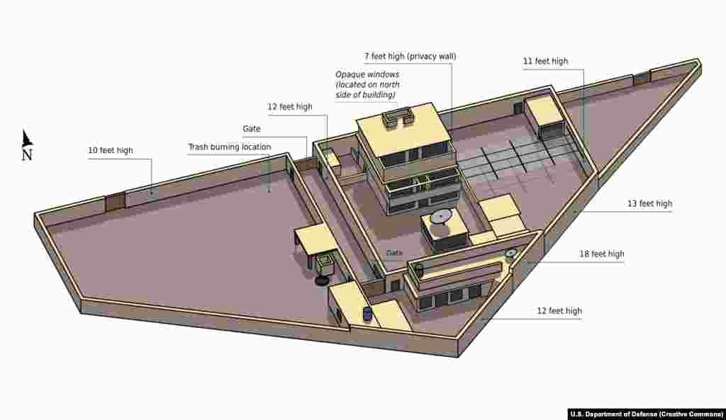 Иллюстрация комплекса Абботтабад, на верхнем балконе которого была «стена для уединения». Рассказы о том, как бин Ладена в конечном итоге удалось отследить расходятся, но шпионить за зданием было относительно легко из-за его высоты