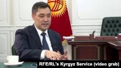 Kyrgyz President Sadyr Japarov speaks to RFE/RL's Kyrgyz Service in Bishkek on March 15.