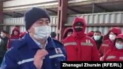 Сотрудники «КМК Мунай» объявили забастовку из-за несогласия с правилами выборов руководства профсоюза. Месторождение Кокжиде, Актюбинская область, 25 марта 2021 года.