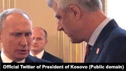 Predsednik Ruske Federacije Vladimir Putin s predsednikom Kosova Hašimom Tačijem u Parizu