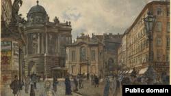 Вена, Михаэлерплатц. Рудольф фон Альт, 1888.