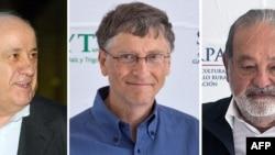 سه ثروتمند نخست جهان در سال ۲۰۱۳؛ از راست: کارلوس اسلیم، بیل گیتس و آمانسیو اورتگا صاحب اسپانيايی شرکت توليد پوشاک «زارا».