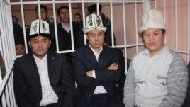 Opposition leaders Kamchybek Tashiev, Sadyr Japarov, and Talant Mamytov (left to right) in court in Bishkek earlier in January.