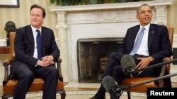 Дэвид Кэмерон и Барак Обама на переговорах в Белом доме, 13 мая 2013 года