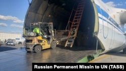 The Russian medical supplies are unloaded shortly after they arrived at JFK International Airport in New York on April 1.