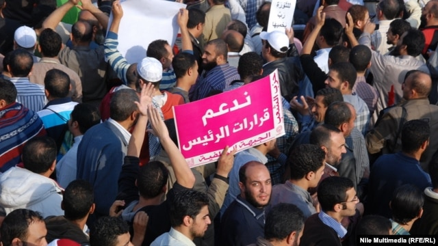 President Muhammad Morsi's supporters rallied December 1 at Cairo University.