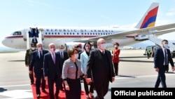 Georgia - Armenian President Armen Sarkissian arrives in Tbilisi on an official visit, April 15, 2021.