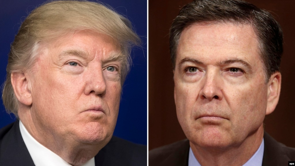 Under examination are U.S. President Donald Trump's interactions with former FBI Director James Comey (right).
