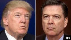 A combo photo of U.S. President Donald Trump (left) and former FBI Director James Comey
