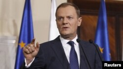 "Polish Prime Minister Donald Tusk said he had received information ""in the last several hours"" suggesting the threat of direct Russian military intervention in Ukraine is ""higher than it was several days ago."""