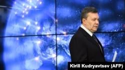 Виктор Янукович на пресс-конференции в Москве, 2 марта 2018 года.