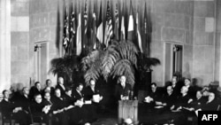 The official signing ceremony creating the North Atlantic Treaty Organization on April 4, 1949