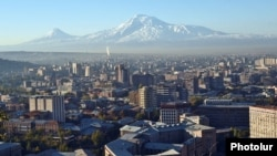 Armenia - A general view of central Yerevan against the backdrop of Mount Ararat, 5Nov2014.