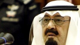 Saudi King Abdullah bin Abdul Aziz delivers a speech to the Saudi Shura Council, or advisory assembly, in Riyadh on September 25, when he announced future suffrage for women.
