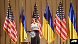 Постійний представник США в ООН Саманта Пауер під час звернення до українців. Київ, 11 червня 2015 року