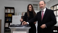 Skopje Mayor Koce Trajanovski casts his ballot.
