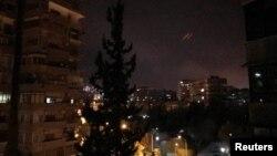 Дамаск во время нанесения ударов с воздуха американскими военными и их союзниками. 14 апреля 2018 г.