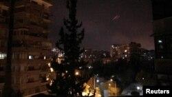 Дамаск во время нанесения ударов с воздуха американскими военными и их союзниками. 14 апреля 2018 года.