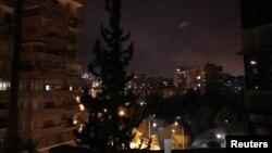 Сирия. Дамаск шаары. Америка жана анын өнөктөштөрүнүн соккусу.14-апрель, 2018-жыл.
