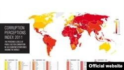 """Transparency International"" guramasynyň 2011-nji ýyl boýunça korrupsiýanyň görkezijileri baradaky kartasy."