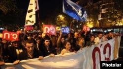 Марш против внесения изменений в Конституцию в Ереване 2 октября 2015 года.