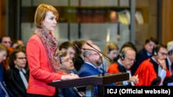 Ukraine's Deputy Foreign Minister Olena Zerkal presents her country's case at the International Court of Justice in The Hague on June 4.