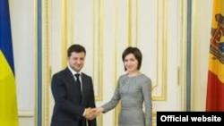 Premierul Maia Sandu și președintele ucrainean Volodimir Zelenski
