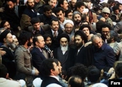 Iran - Ayatollah Ruhollah Khomeini on his return to Tehran from Paris, 01Feb1979.