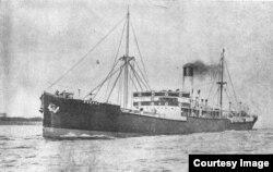 "Cargoul ""Bucegi"" (Foto: Vol. Nicolae Bârdeanu, Dan Nicolaescu, Contribuții la istoria marinei române, vol. I)."