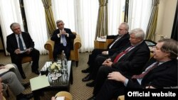 The Netherlands -- President of Armenia Serzh Sarkisian (center) met with the co-chairs of the OSCE Minsk Group, 23 March 2014