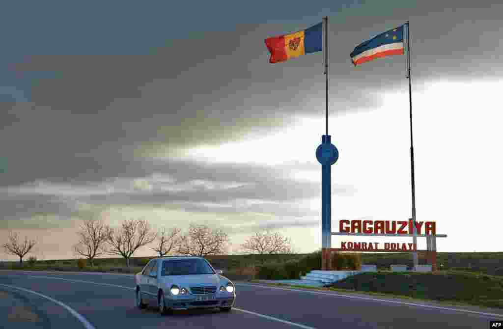 Moldovan and Gagauz flags fly at the border of the Gagauzia autonomous region.