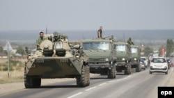 Російські бойові підрозділи поблизу міста Кам'янськ-Шахтинський у Ростовській області неподалік кордону з Україною, 17 серпня 2014 року